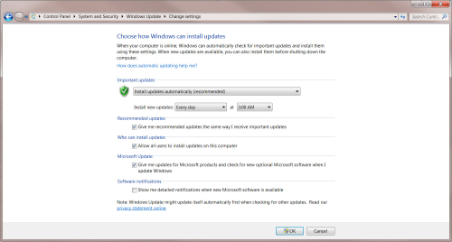 Windows Update Settings in Win 7