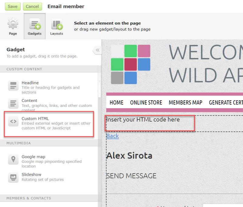 Custom html gadget