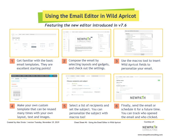 Wild Apricot Cheat Sheet #6 - Using the Email Editor in Wild Apricot