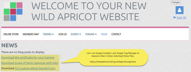 Sample wild apricot web page with download links